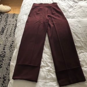 ZARA high waisted cropped maroon pant